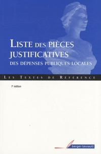 Berger-Levrault - Liste des pièces justificatives des dépenses publiques locales.