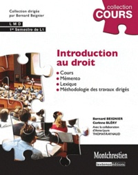 Bernard Beignier et Corinne Bléry - Introduction au droit - Cours et travaux dirigés premier semestre de L1.