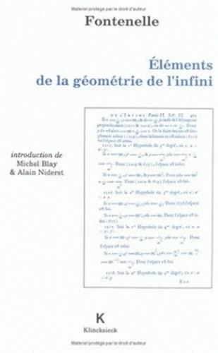 Bernard de Fontenelle - Eléménts de la géométrie de l'infini.