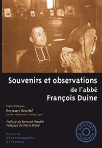 Bernard Heudré - Souvenirs et observations de l'abbé François Duine.