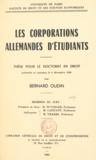 Bernard Oudin - Les corporations allemandes d'étudiants - Thèse pour le Doctorat en droit.