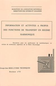 Bernard Verlant - Information et activités à propos des fonctions de transfert en régime harmonique.