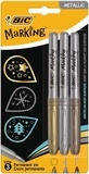 BIC CONTE - FA Blister 3 marqueurs MARKING COLOR METAL pointe ogive or, argent, bronze