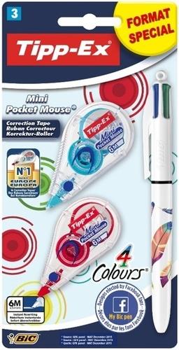 BIC CONTE - Lot 2 correcteurs mini pocket mouse Tipp-Ex + 1 stylo 4 couleurs Plume