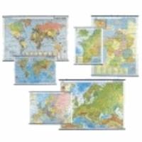 Bourrelier - Lot de 3 cartes murales : carte de France, carte d'Europe, planisphères.