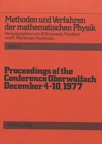 Bruno Brosowski et Erich Martensen - Proceedings of the Conference Oberwolfach: December 4-10, 1977.