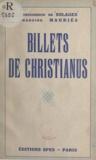 Bruno de Solages et Clément Mauriès - Billets de Christianus.