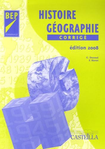 C Durand et Françoise Navet - Histoire Géographie Tle BEP - Corrigé.