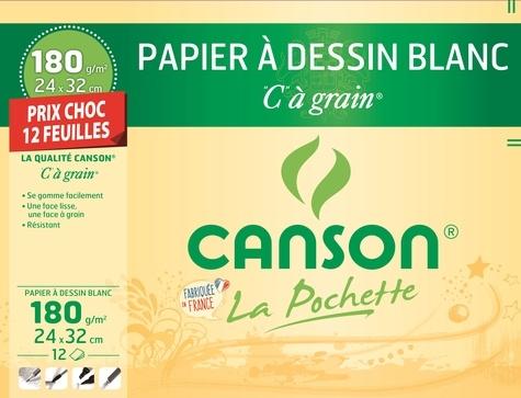 """CANSON - Papier à dessin blanc Canson """"C"""" à grain - 24x32cm - 180g - pochette 12 feuilles"""