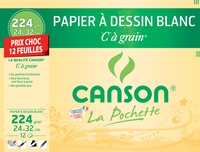 """CANSON - Papier à dessin blanc Canson """"C"""" à grain - 24x32cm - 224g - pochette 12 feuilles"""