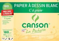 """CANSON - Papier à dessin blanc Canson """"C"""" à grain - A4 21x29,7cm - 180g - pochette 12 feuilles"""