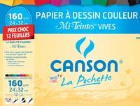 CANSON - Papier à dessin couleur mi-teintes vives Canson - 24x32cm - 160g - pochette 12 feuilles