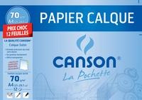 CANSON - Papier calque Canson - A4 21x29,7cm - 70g - pochette 12 feuilles