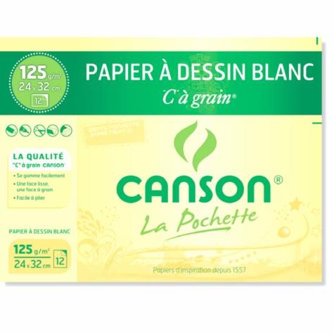 CANSON - Papier dessin Canson C a Grain - 24x32 - 125g - Pochette 12 feuilles