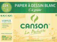 CANSON - Papier dessin Canson C à Grain - 24x32 - 224g - Pochette 12 feuilles