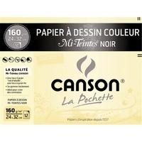 CANSON - Papier dessin Canson mi teintes noir 24x32 160g - Pochette 12 feuilles