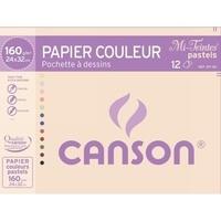 CANSON - Papier dessin Canson mi teintes pastels 24x32 160g - Pochette 12 feuilles