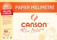 CANSON - Papier millimétré Canson - A4 21x29,7cm - 90g - pochette 12 feuilles