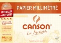 CANSON - Papier millimétré Canson A4 90g - Pochette 12 feuilles + 4 gratuites