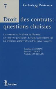 Caroline Cauffman et Julie De Coninck - Droit des contrats : questions choisies.