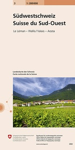 Bundesamt für landestopographi - Carte nationale de la Suisse n°3 - Suisse Sud-Ouest 1: 200 000.