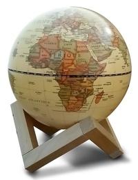 Cartothèque - Globe 14 cm antique lumineux + support en bois.