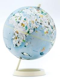 Cartothèque - Globe terrestre bleu illustré.