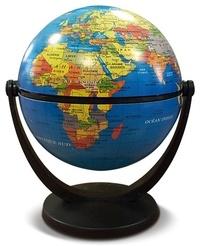 Papeterie - Globe terrestre 10 cm tournant bleu politique.