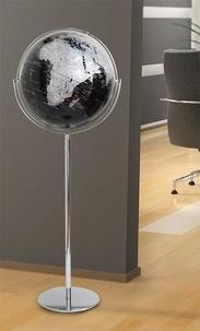 Papeterie - Globe du monde relief noir.