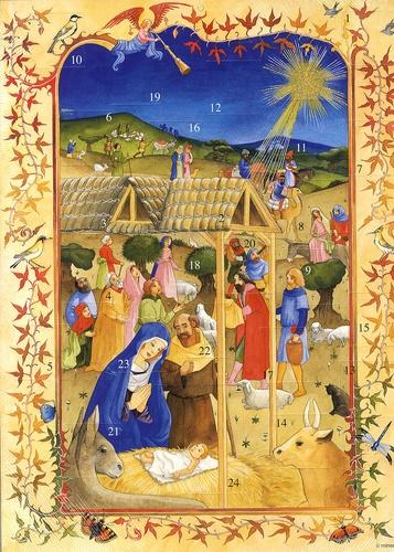Catherine Adam - L'adoration des bergers - Calendrier de l'Avent.
