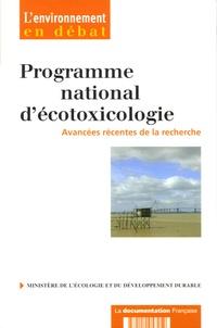 Catherine Bastien Ventura - Programme national d'écotoxicologie (PNETOX) - Avancées récentes de la recherche.