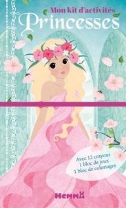 Cathy Delanssay - Mon kit d'activités Princesses (fond bleu) - Avec 12 crayons de couleur, 1 bloc de jeux, 1 bloc de coloriages.