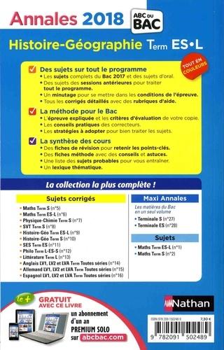 Histoire-Géo Tle ES-L. Sujets & corrigés  Edition 2018