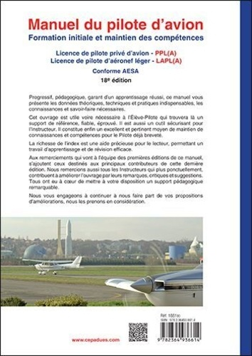 Manuel du pilote d'avion. Formation initiale et maintien des compétences 18e édition