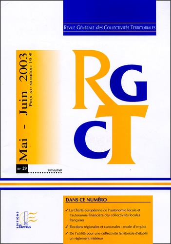 Jacques Bourdon et Denis Garreau - Revue Générale des Collectivités Territoriales N° 29, Mai-Juin 2003 : .