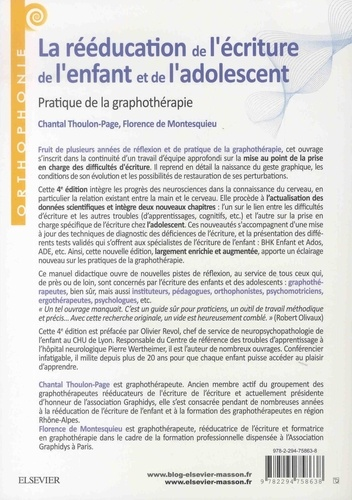 La rééducation de l'écriture de l'enfant et de l'adolescent. Pratique de la graphothérapie 4e édition