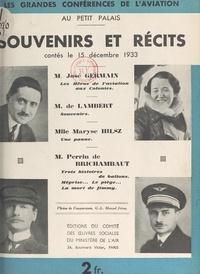 Charles de Lambert et José Germain - Souvenirs et récits contés le 15 décembre 1933.