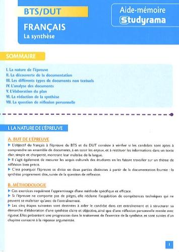 Francais Bts Dut La Synthese