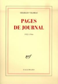 Charles Vildrac - Pages de journal (1922-1966).