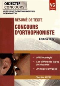 Concours d'orthophoniste- Résumé de texte - Charline Effah |