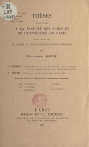 Chintamani Mandé - Thèses présentées à la faculté des sciences de l'Université de Paris pour obtenir le grade de docteur ès sciences physiques.