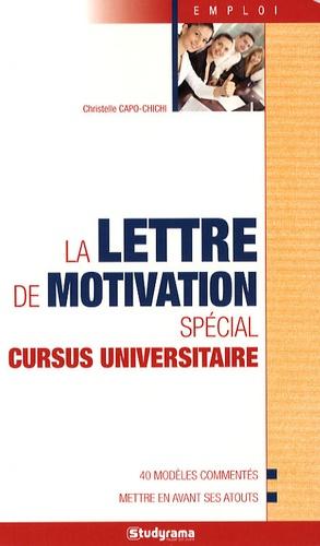 Christelle Capo-Chichi - La lettre de motivation spécial cursus universitaire.