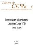 Christian Fierens - Textes fondateurs de la psychanalyse - Lituraterre (Lacan, 1971).
