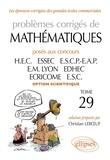 Christian Leboeuf - Problèmes de mathématiques posés aux concours des grandes écoles commerciales option scientifique.