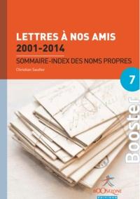 Christian Sautter - Lettres à nos amis 2001-2014 : Sommaire - index des noms propres.