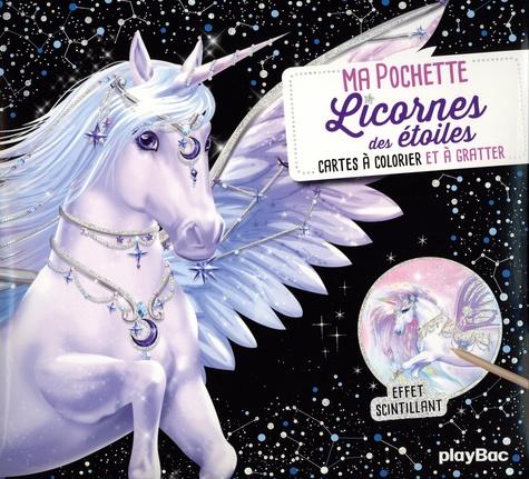 Licornes des étoiles. Avec 5 cartes à gratter scintillantes, 5 cartes à colorier, 1 pique en bois
