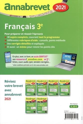 Français 3e. Sujets, corrigés et conseils de méthode  Edition 2021