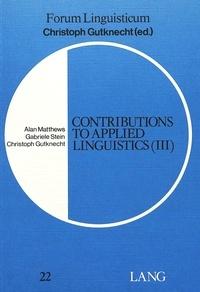 Christoph Gutknecht - Contributions to Applied Linguistics (III).