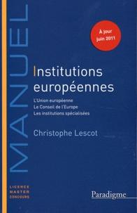 Christophe Lescot - Institutions européennes 2011-2012.