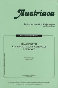 Gerald Stieg - Austriaca N° 61, Décembre 2005 : Elias Canetti à la Bibliothèque nationale de France.